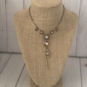 Jewelry - Rose Gold Pink Flower Necklace 14""